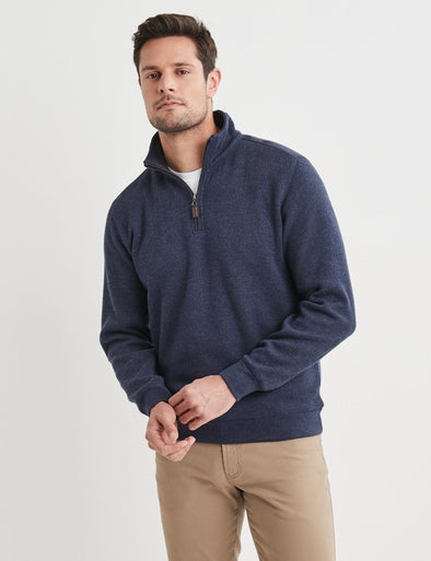 Heather Half Zip Sweater - Navy