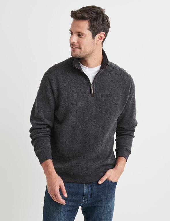 Heather Half Zip Sweater - Charcoal