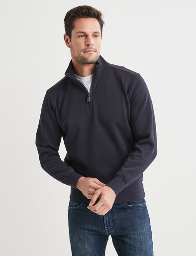 Half Zip French Rib Sweater - Navy