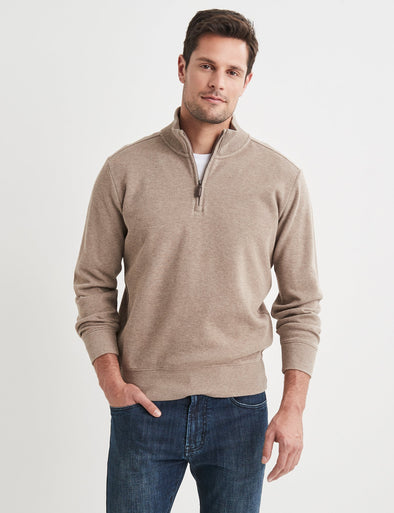 Half Zip French Rib Sweater - Taupe