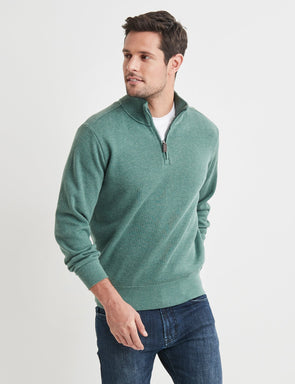 Half Zip French Rib Sweater - Green