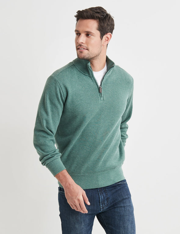 1/2 Zip French Rib Sweater Green