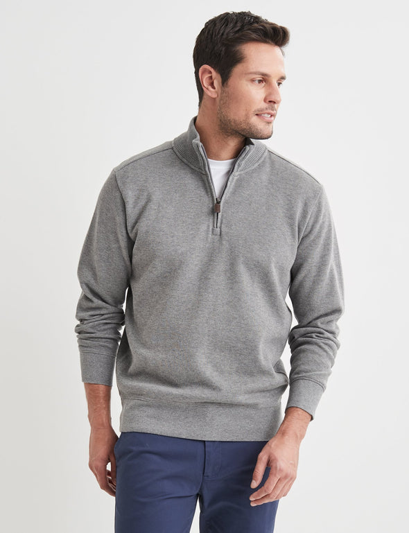 Half Zip French Rib Sweater - Grey