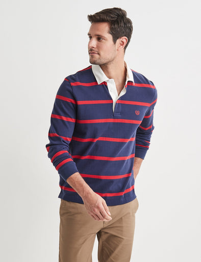 Fergus Stripe Rugby Top - Navy/Red