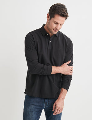 Long Sleeve Pique Polo - Black