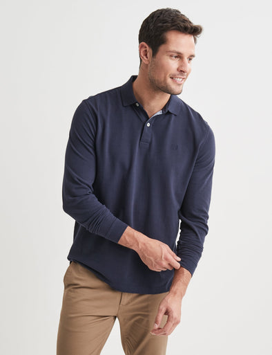 Long Sleeve Pique Polo - Navy