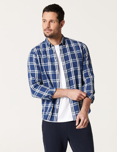 Aiden Long Sleeve Indigo Check Shirt - Indigo