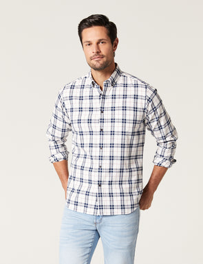 Karl Long Sleeve Brushed Check Shirt - Off White