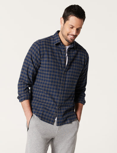 Cheviot Brushed Check Shirt - Grey/Blue