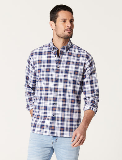 Riley Long Sleeve Oxford Check Shirt - White