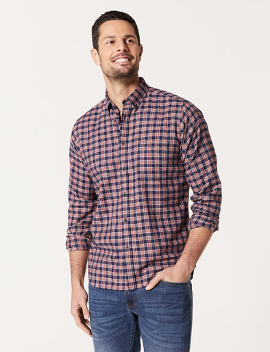 Dale Long Sleeve Brushed Check Shirt - Navy/Red