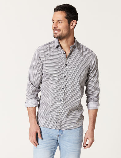 Brody Long Sleeve Print Shirt - Navy/Tan