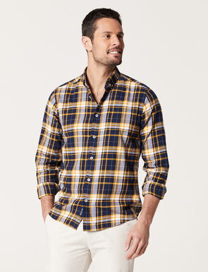 Ashton Long Sleeve Brushed Check Shirt - Yachting Navy