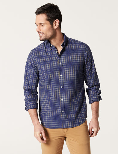 Bo Long Sleeve Herringbone Check Shirt - Denim Heather