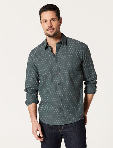 Quinn Long Sleeve Print Shirt - Green Marle