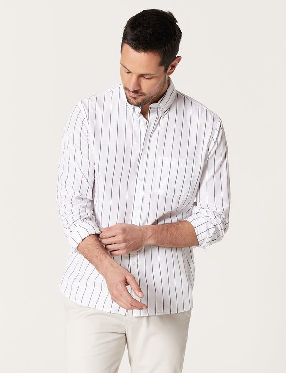 Fraser Poplin Stripe Shirt - White
