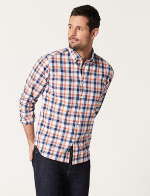 Blake Long Sleeve Check Shirt - Orange