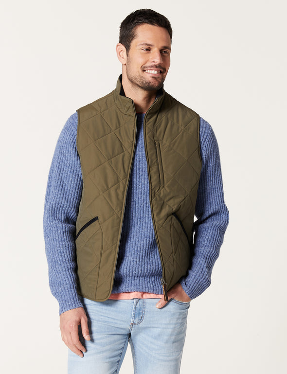 York Quilted Vest - Army Green