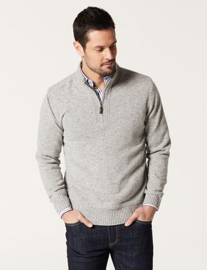 Hamish Wool Blend Half Zip Knit - Charcoal