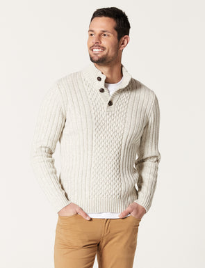 Henry Button Neck Knit - Natural
