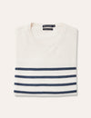 Nick Stripe Cotton Crew - Off White