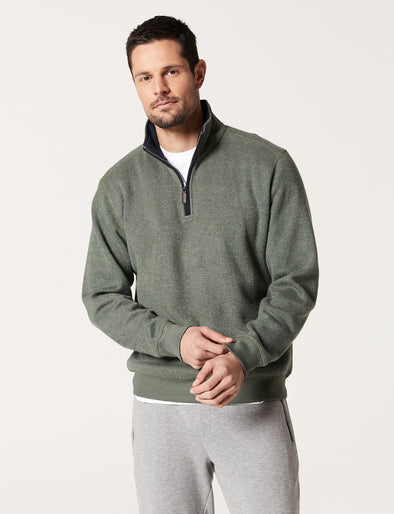 Heather Half Zip Sweat - Olive