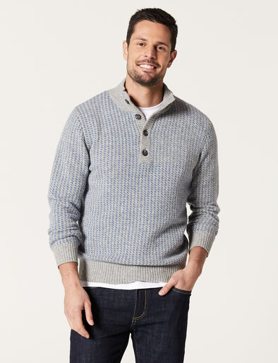 Dylan Lambswool Button Neck  - Grey Heather