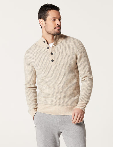 Dylan Lambswool Button Neck  - Taupe