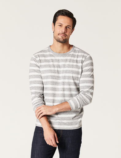 Mitch Stripe Tee - Charcoal Marle