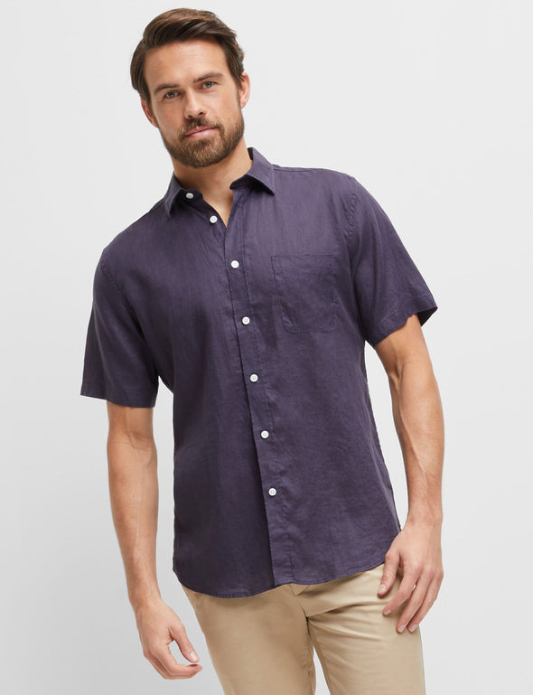 Cooper Navy Short Sleeve Linen Shirt