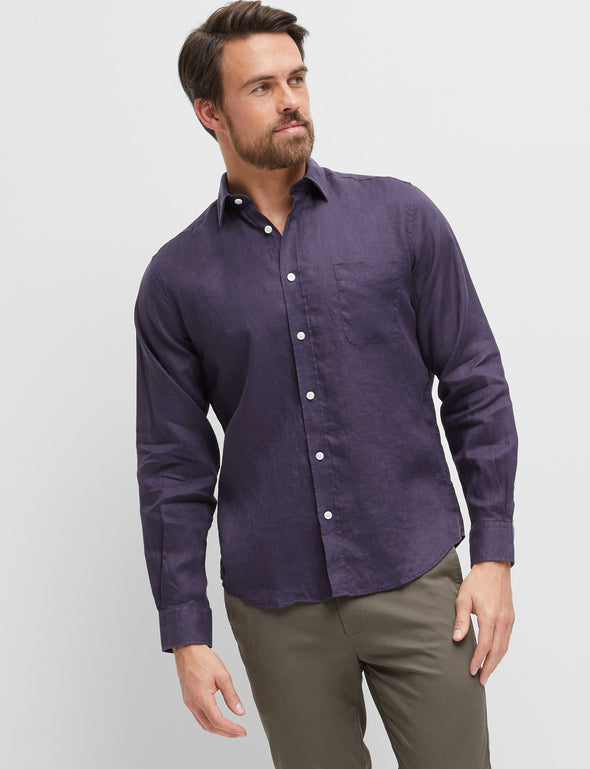 Cooper Long Sleeve Linen Navy Shirt