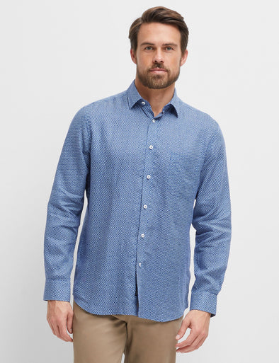 Maxwell Printed Linen Long Sleeve Shirt