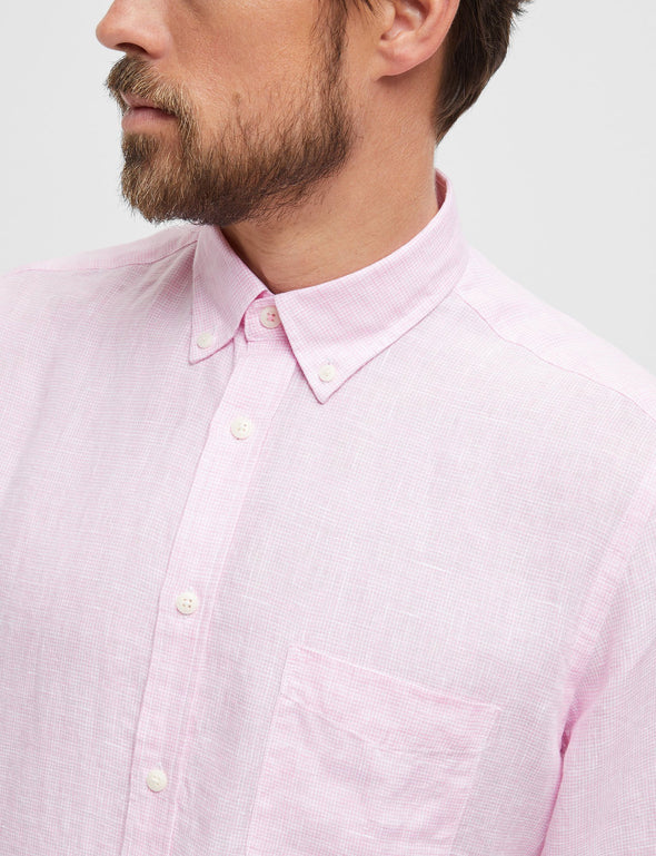 Jude Linen Long Sleeve Check Shirt
