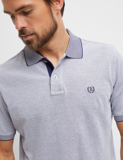 Asher Textured Pique Polo - Navy
