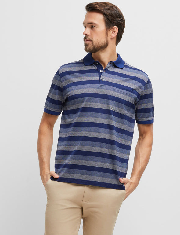 Warren Mercerised Polo - Blue Multi