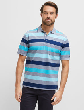 Mitch Mercerised Aqua Multi Polo