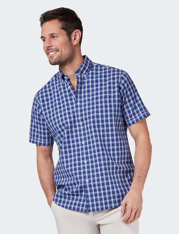 Harry Short Sleeve Check Shirt - Navy