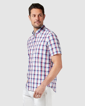 Charlie Short Sleeve Cotton Linen Check    - Navy/Red