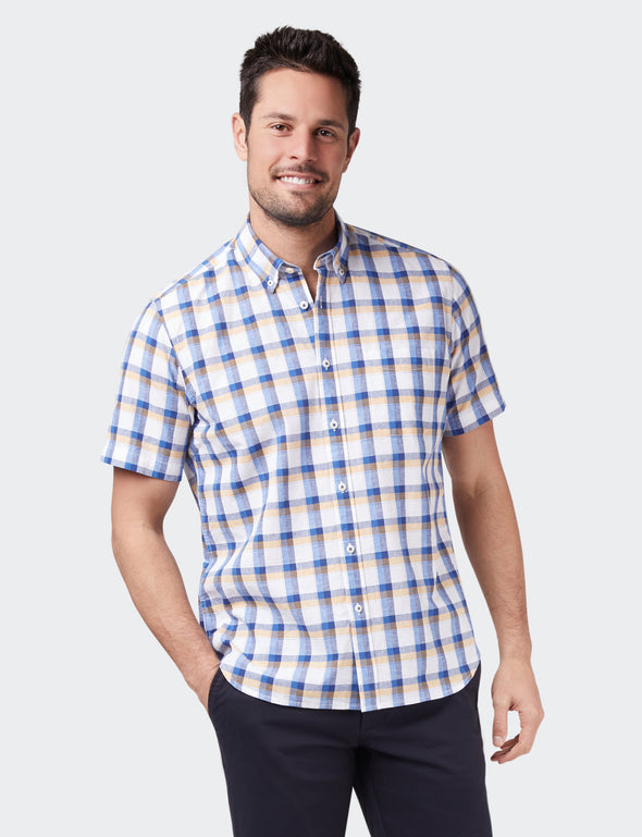 Charlie Short Sleeve Check Shirt  - Navy/Yellow