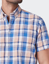 Noah S/S Cot Linen Check Shirt - Navy/Orange