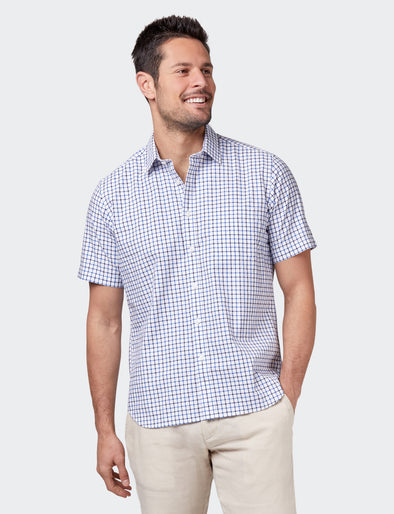 George Short Sleeve Check Shirt - Navy/Blue