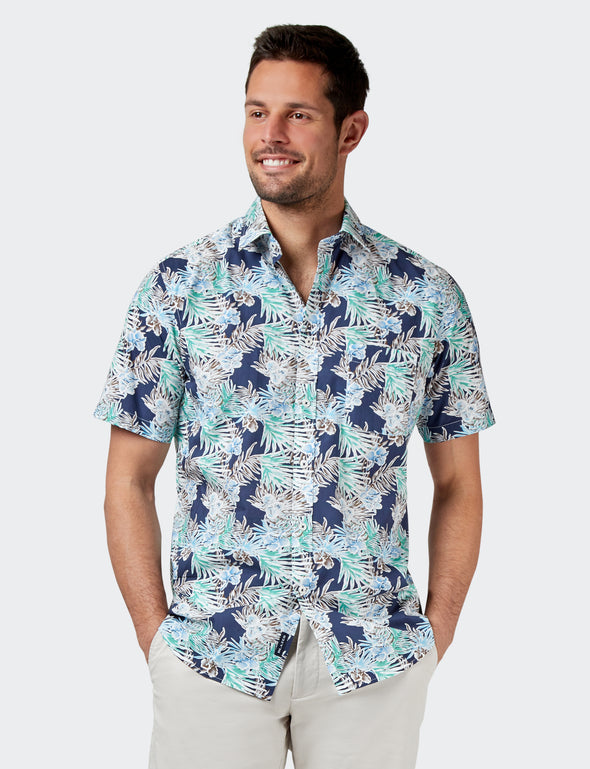 Leo Short Sleeve Print Shirt - Navy Multi