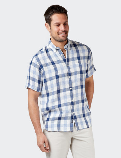 Theo S/S Linen Check Shirt - Blue