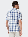 Theo Short Sleeve Linen Check Shirt - Blue