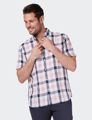 Theo S/S Linen Check Shirt - Pink