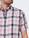 Theo Short Sleeve Linen Check Shirt - Pink