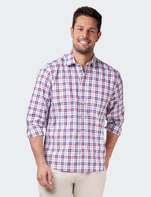 Finley L/S Check Shirt - Navy/Red