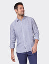 Jayden Long Sleeve Linen Stripe Shirt - Navy