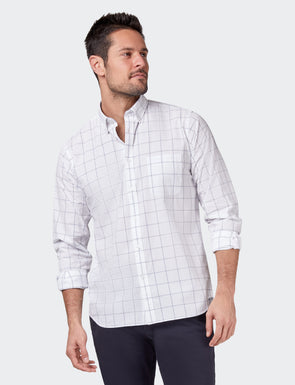 Louie Long Sleeve Check Shirt - White/Navy