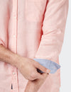 Cooper Long Sleeve Linen Plain Shirt    - Coral